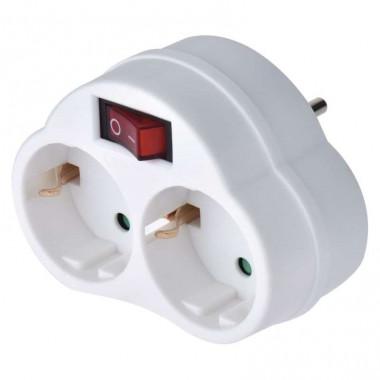 Lisätarvikkeet - pistotulppa adapteri - maadoitettu - 2kpl ja kytkin